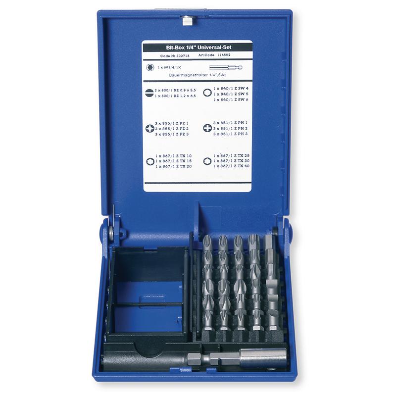 Набір біт 1/4 '' 31 шт. з магнітним утримувачем для біт в пластиковому кейсі (LS, PH, PZD, TX, HEX)