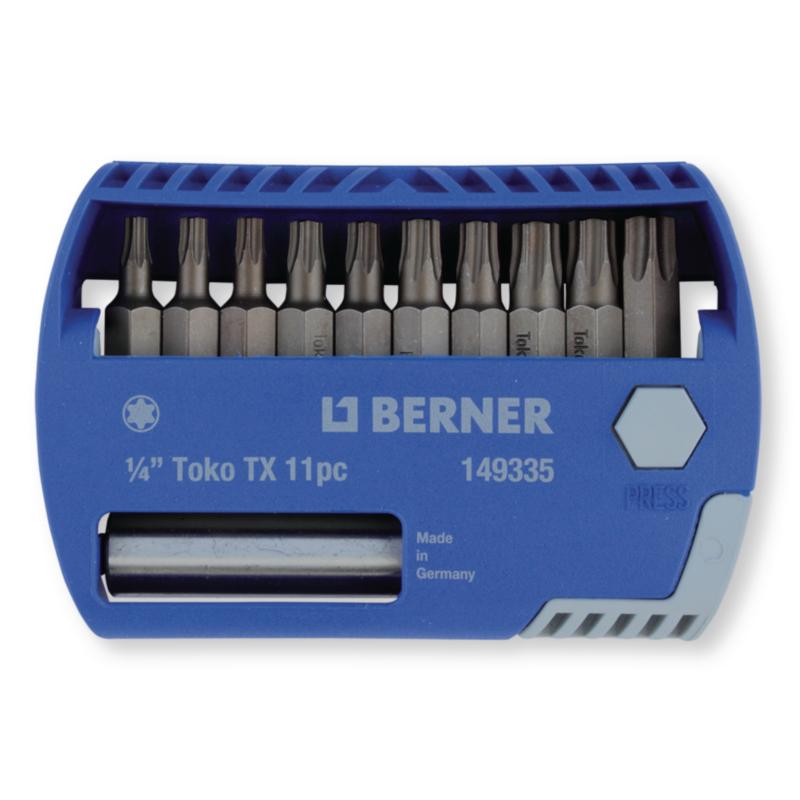 Набір біт 1/4 '' TX 11 шт. с 2-ма магнітними утримувачами для біт в пластиковому кейсі