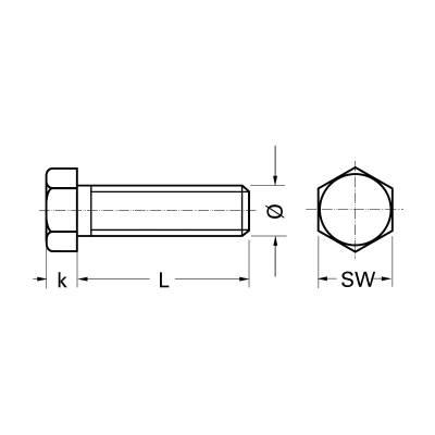 Болт з шестигранною головкою, DIN 933 10.9 M24, оцинкований