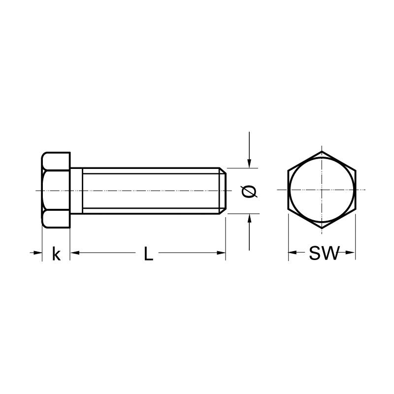 Болт з шестигранною головкою DIN 933 12.9, повна різьба,  Без покриття