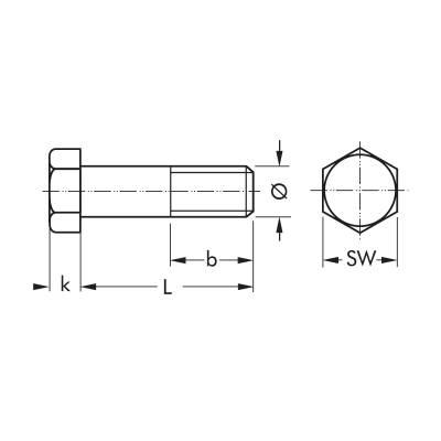 Болт з шестигранною головкою DIN 931 8.8 М5, часткова різьба, оцинкований