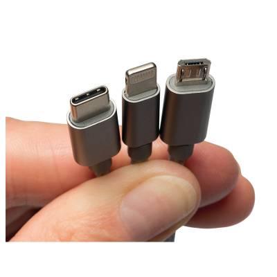Зярядний кабель 3 в 1 MicroUSB | Lightning | USB Type-C  Berner